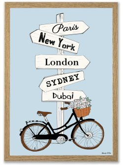 Paris, New York, London A4 plakat