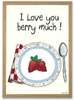 I Love You Berry Much A4 plakat