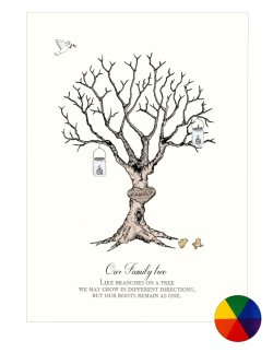 Family Tree Fingerprint - Multicolor