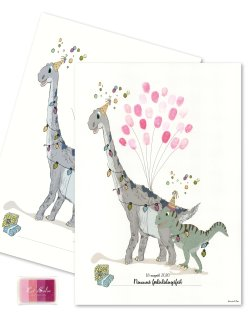 Fingerprint - Dino party Pink